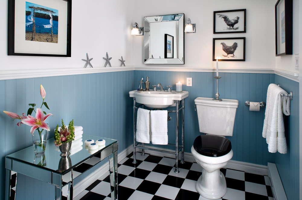 Black White And Blue Bathroom 2017 Grasscloth Wallpaper